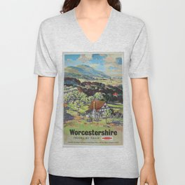 Worcestershire Vintage Travel Poster Unisex V-Neck