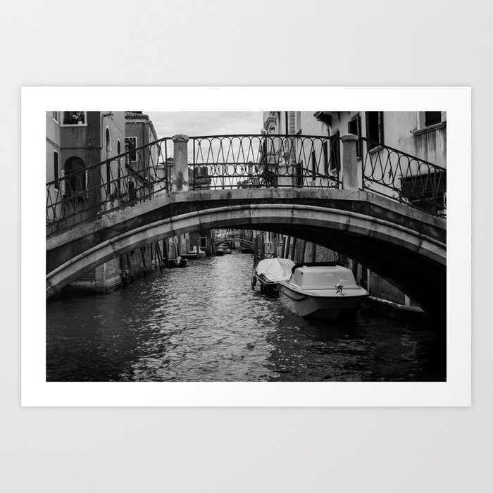 Venice italy bridges black and white art print