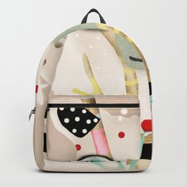 Bear 2018 polka Dots North Pole Snowing Stars Beige Cream Backpack