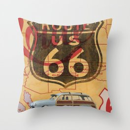 Route 66 Vintage Travel Poster Throw Pillow