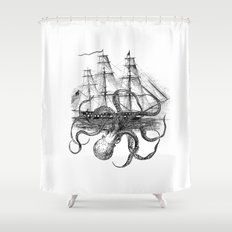 Octopus Attacks Ship on White Background Shower Curtain
