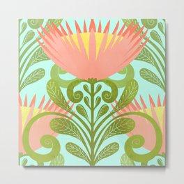 King Protea Flower Pattern - Turquoise Metal Print