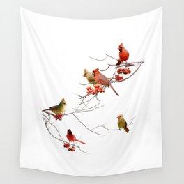 Perching Cardinals Wall Tapestry