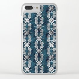 Boho Flower Stripe Jade Clear iPhone Case