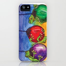 Christmas Frogs on Baubles iPhone Case