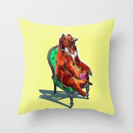 animals in chairs #20 The Bear at Tea Throw Pillow