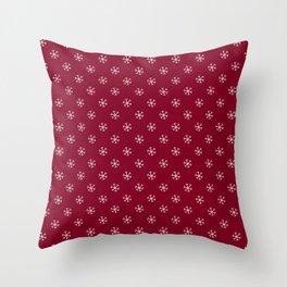 White on Burgundy Red Snowflakes Throw Pillow