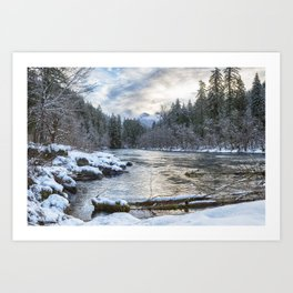 Morning on the McKenzie River Between Snowfalls Art Print
