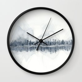 The Mountains in Winter Wall Clock