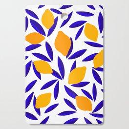 Blue and yellow Lemon Summery Pattern Cutting Board