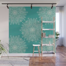 Teal and Lace Mandala Wall Mural