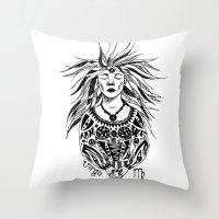 virgo Throw Pillows featuring Virgo by Anna Shell