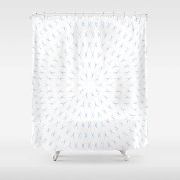 PCT2 Fractal in Ice Blue on White Shower Curtain