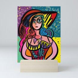 Tarot Girl with Hat French Art Cubism Mini Art Print