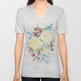 Yellow Loose Floral Bouquet watercolor painting Unisex V-Neck