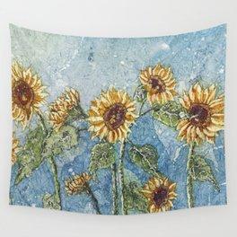 Watercolor Sunflowers,Watercolor Batik, Sunflower Art,Sunflower Flower Wall Tapestry