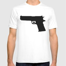Peace MEDIUM White Mens Fitted Tee