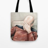 picard Tote Bags featuring Picard Facepalm Meme by Olechka