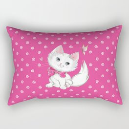 Cute White Kitten with Butterfly on Pink Background Rectangular Pillow
