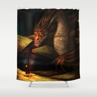 smaug Shower Curtains featuring Smaug by wolfanita