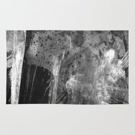 Shards // black and white abstract ink painting Rug