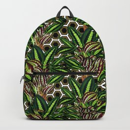 Palm on Polygon Pattern - White Black Gold Backpack