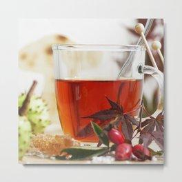 Fall time is tea time Metal Print
