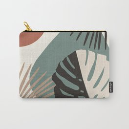 Minimal Yin Yang Monstera Fan Palm Finesse #1 #tropical #decor #art #society6 Carry-All Pouch