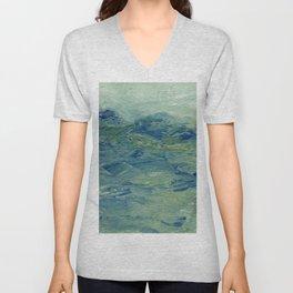 Abstract Blue Green Waves of Aqua Ocean Blue Mountains Unisex V-Neck