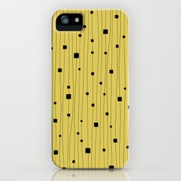 Squares and Vertical Stripes - Yellow and Black - Hanging iPhone Case