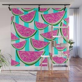 Watermelon Crush on Aqua and White Stripes Wall Mural
