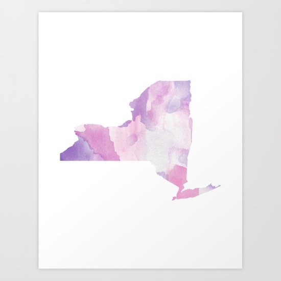 Watercolor State Map - New York NY purples by rockyrivers