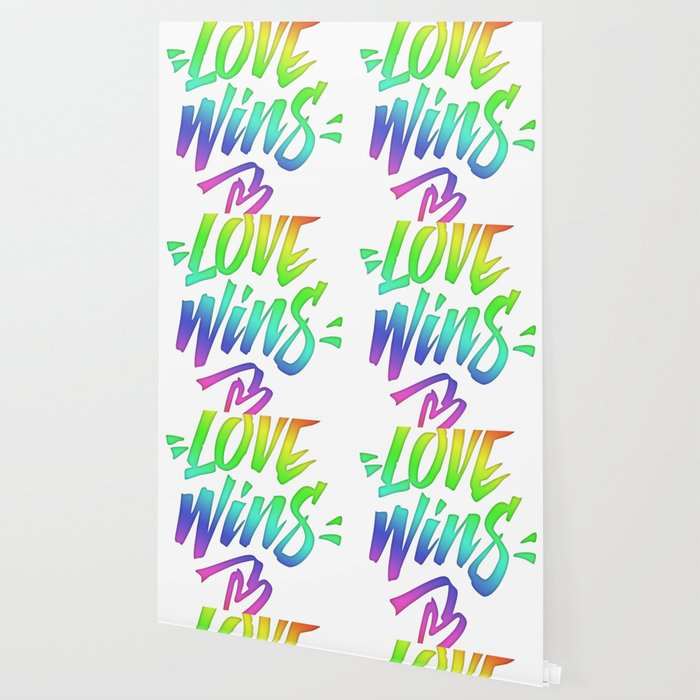 Love Wins Lettering With Rainbow Colors Gradient Wallpaper