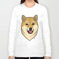 shiba inu Long Sleeve T-shirts featuring Shiba Inu by Bleachydrew