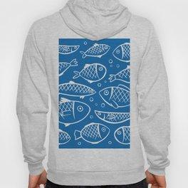 Fish blue white Hoody
