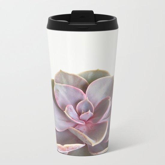 Purple Succulent Metal Travel Mug