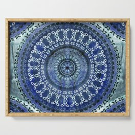 Vintage Blue Wash Mandala Serving Tray