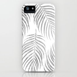 Chic elegant silver foil palm tree leaves iPhone Case