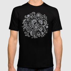 Jacobean Inspired Light on Dark Grey Floral Doodle Black 2X-LARGE Mens Fitted Tee