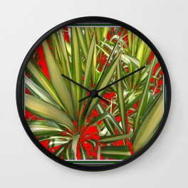 Contemporary Western Green-Red Desert Yucca Cacti Wall Clock