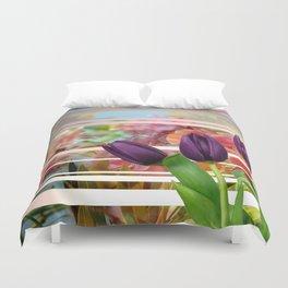 Flower Garden & Purple Tulips Stripes Collage Duvet Cover