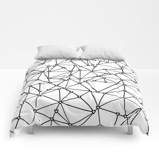 Abstract Heart Black on White Comforters