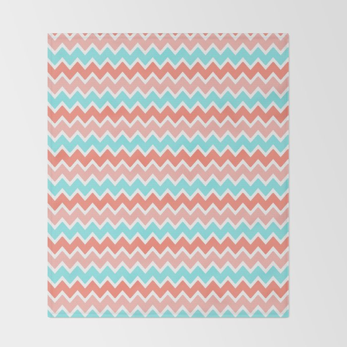 Coral Peach Pink And Aqua Turquoise Blue Chevron Throw Blanket By Unique Pink Chevron Throw Blanket