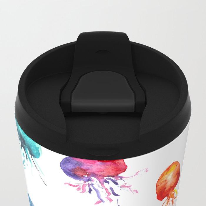 happy jellyfish Metal Travel Mug