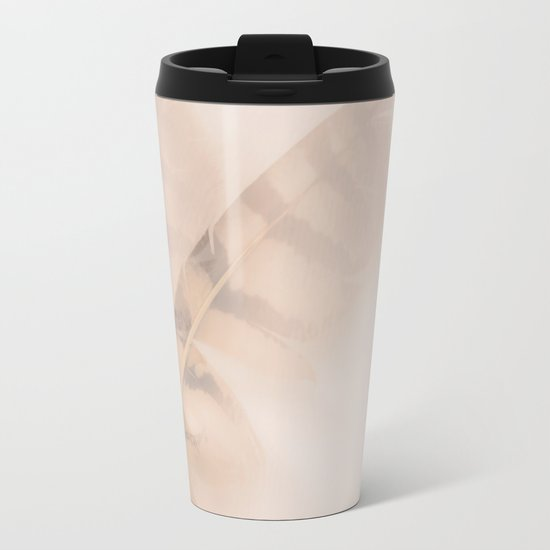 Two feathers on a soft pastel background - beautiful couple Metal Travel Mug