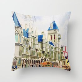 London Vintage Travel Poster Throw Pillow