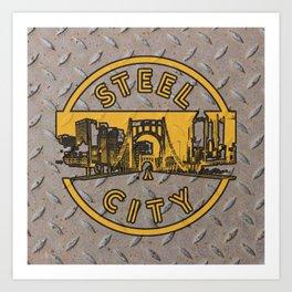 Pittsburgh Steel City Skyline Bridge Vintage Pennsylvania Retro Metal Art Print