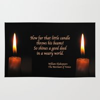 shakespeare Area & Throw Rugs featuring Shakespeare Candle Flame by Bebop's Place
