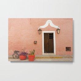 Vintage pink house facade with bike Metal Print