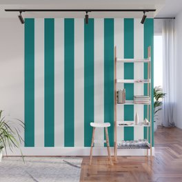 Vertical Stripes (Teal/White) Wall Mural